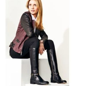 Michael Kors Black Arley Leather Riding Boots